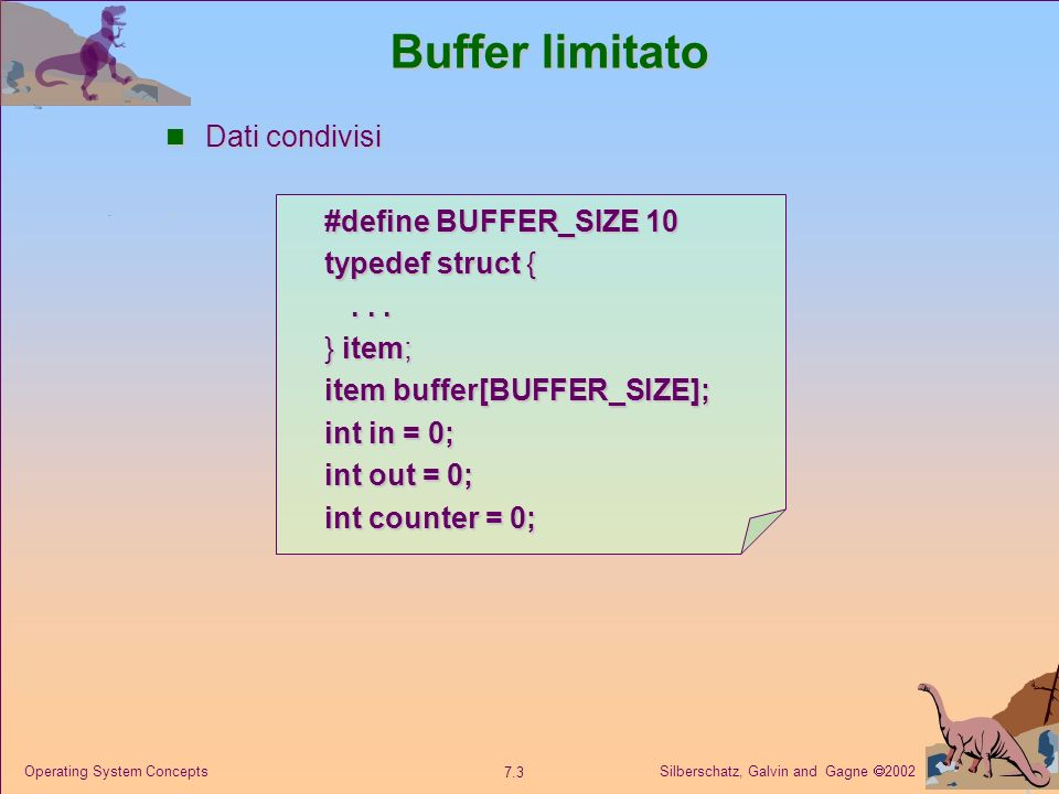 Buffer limitato Dati condivisi #define BUFFER_SIZE 10 typedef struct {