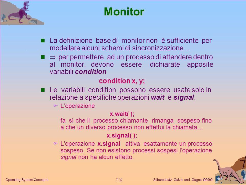 Monitor La definizione base di monitor non è sufficiente per modellare alcuni schemi di sincronizzazione…