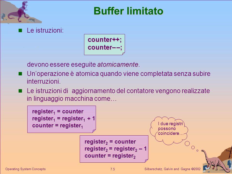 Buffer limitato Le istruzioni: counter++; counter– –;