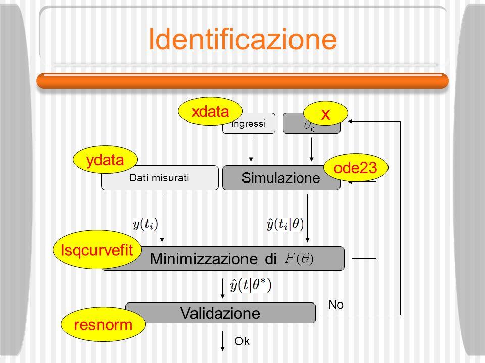 Identificazione x xdata ydata ode23 lsqcurvefit Minimizzazione di