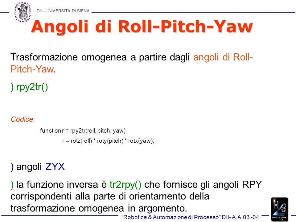 Angoli di Roll-Pitch-Yaw