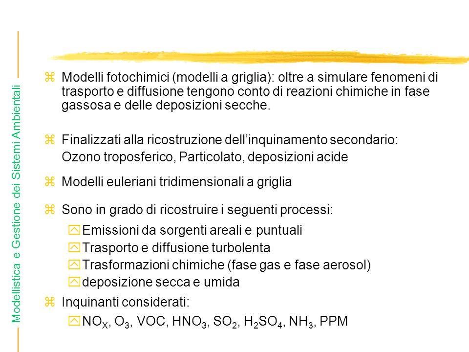 Modelli fotochimici (modelli a griglia): oltre a simulare fenomeni di trasporto e diffusione tengono conto di reazioni chimiche in fase gassosa e delle deposizioni secche.