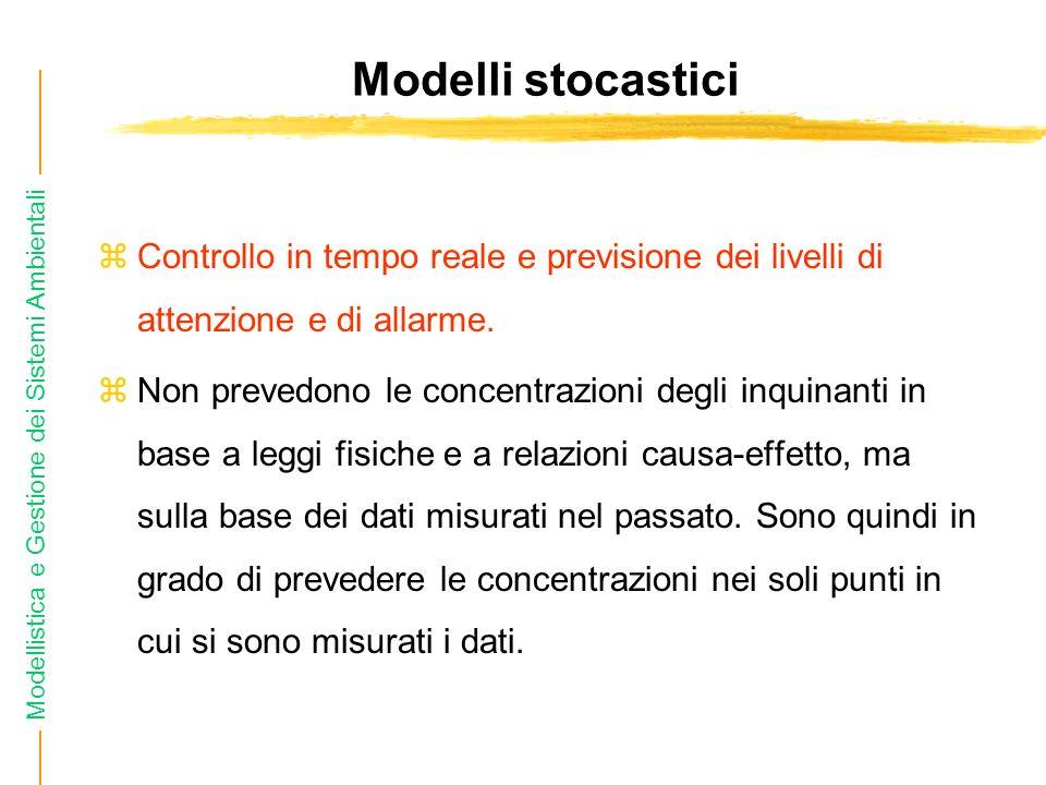 Modelli stocastici Controllo in tempo reale e previsione dei livelli di attenzione e di allarme.