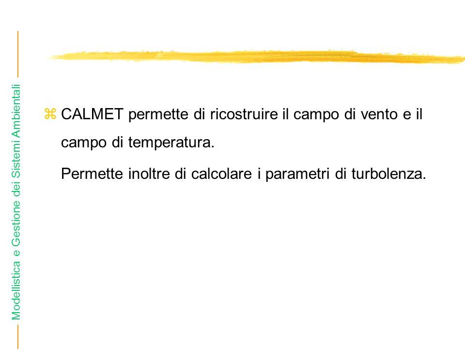 CALMET permette di ricostruire il campo di vento e il campo di temperatura.