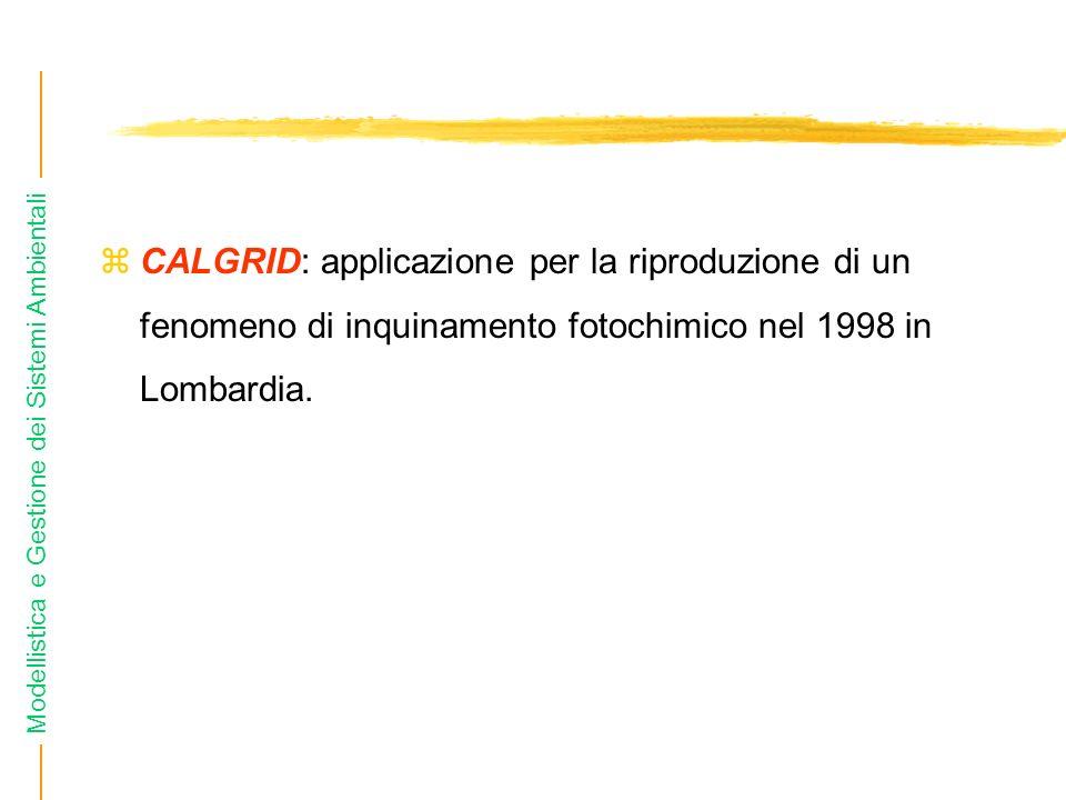 CALGRID: applicazione per la riproduzione di un fenomeno di inquinamento fotochimico nel 1998 in Lombardia.