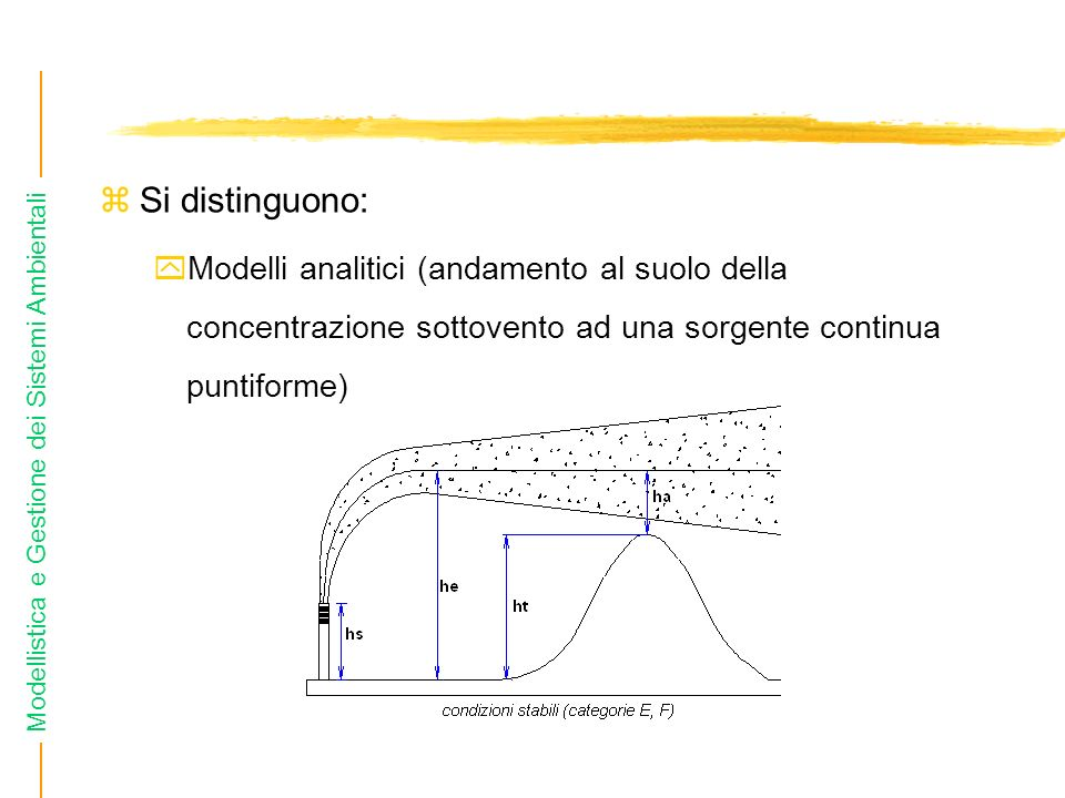 Si distinguono:Modelli analitici (andamento al suolo della concentrazione sottovento ad una sorgente continua puntiforme)