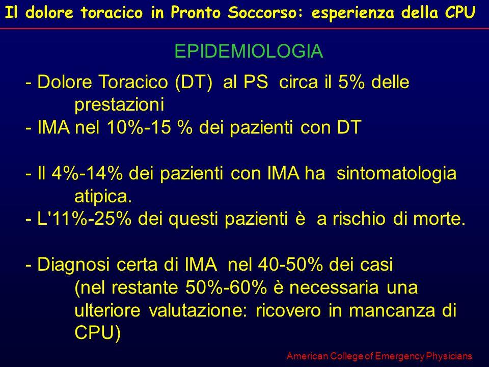 - Dolore Toracico (DT) al PS circa il 5% delle prestazioni