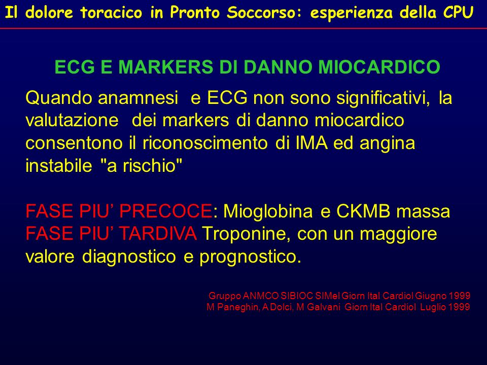 ECG E MARKERS DI DANNO MIOCARDICO