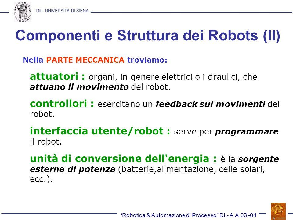 Componenti e Struttura dei Robots (II)