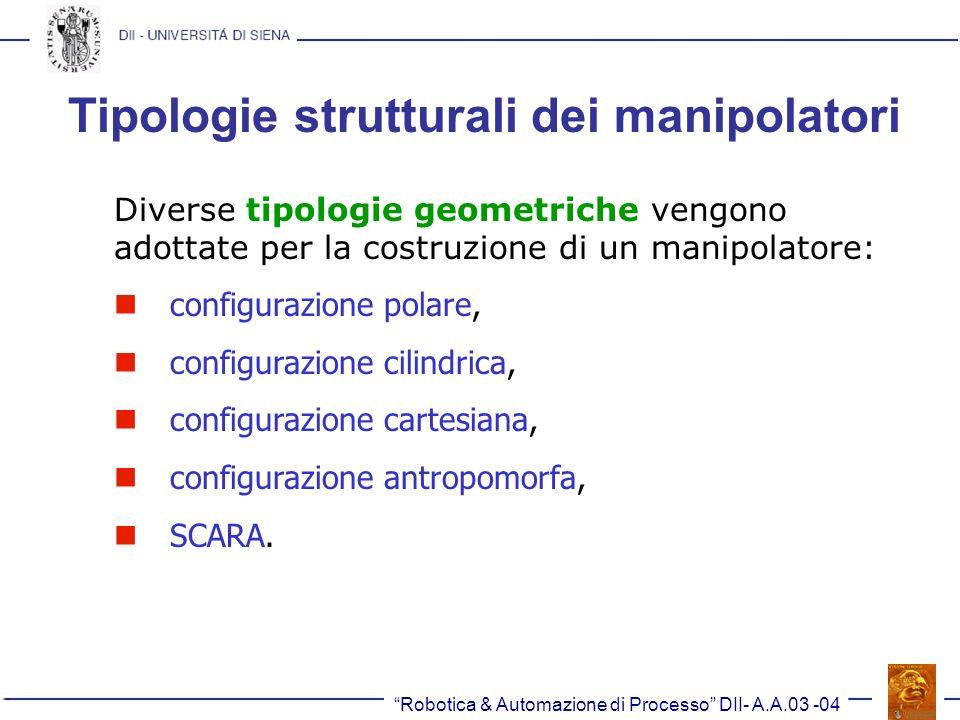 Tipologie strutturali dei manipolatori