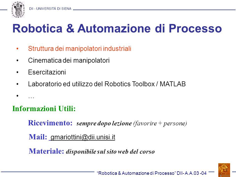 Robotica & Automazione di Processo