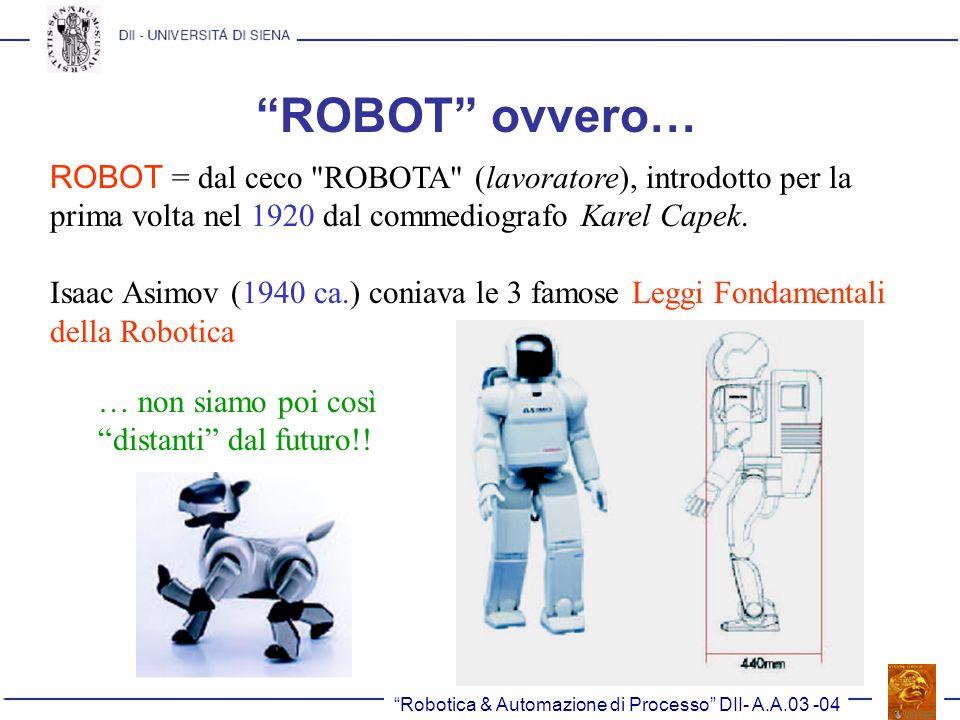 ROBOT ovvero… ROBOT = dal ceco ROBOTA (lavoratore), introdotto per la prima volta nel 1920 dal commediografo Karel Capek.