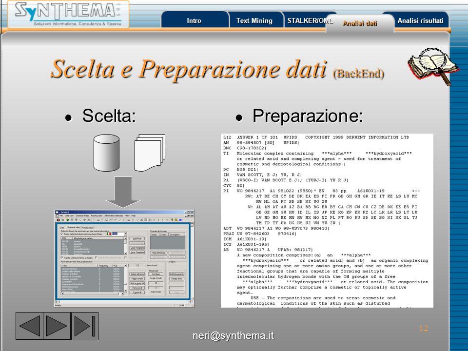Scelta e Preparazione dati (BackEnd)