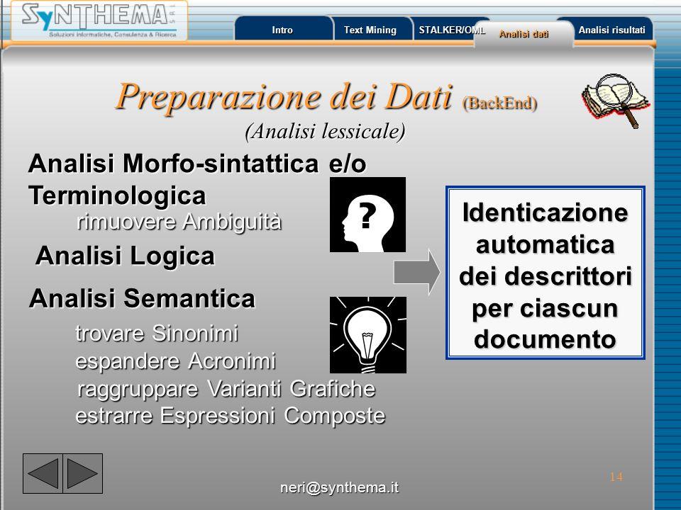 Identicazione automatica dei descrittori per ciascun documento