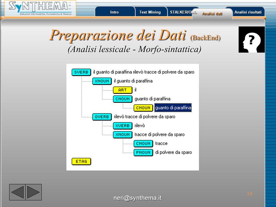 Preparazione dei Dati (BackEnd) (Analisi lessicale - Morfo-sintattica)