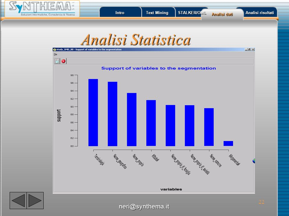 Analisi Statistica neri@synthema.it Intro Text Mining STALKER/OML