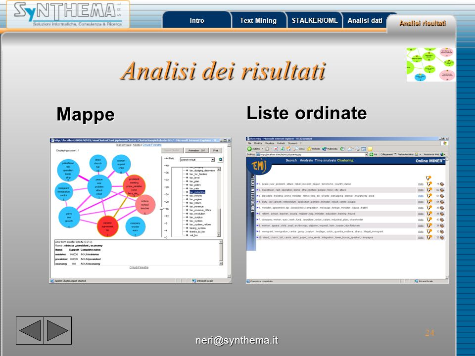 Analisi dei risultati Liste ordinate Mappe neri@synthema.it Intro