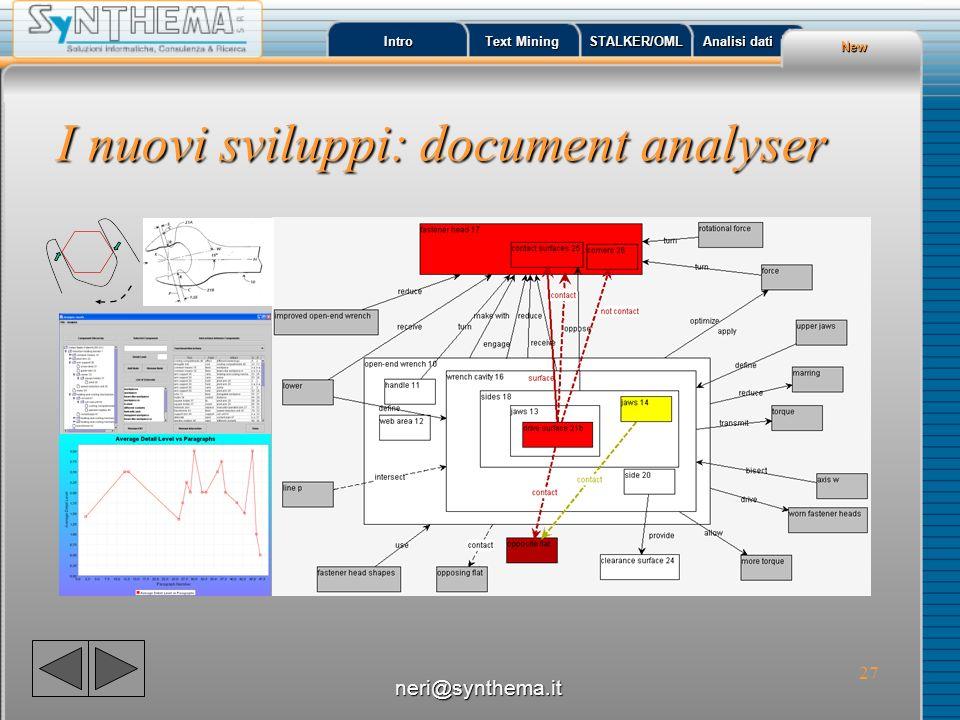 I nuovi sviluppi: document analyser