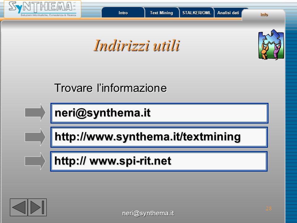 Indirizzi utili Trovare l'informazione neri@synthema.it