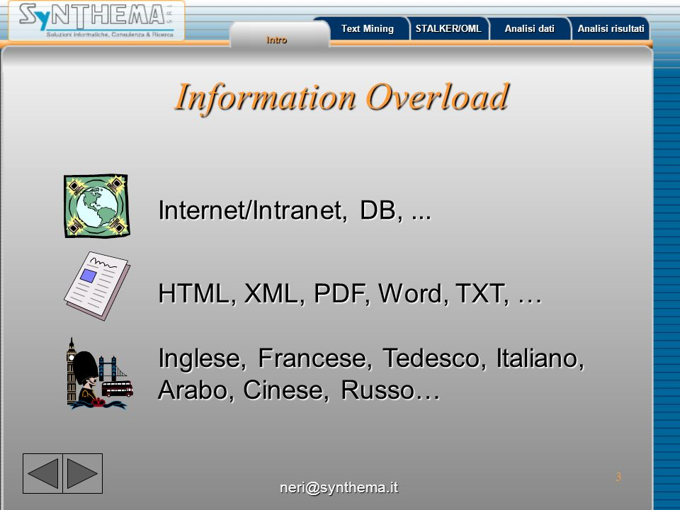 Information Overload Internet/Intranet, DB, ...