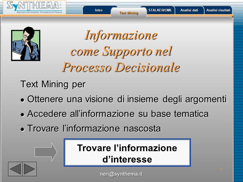Informazione come Supporto nel Processo Decisionale
