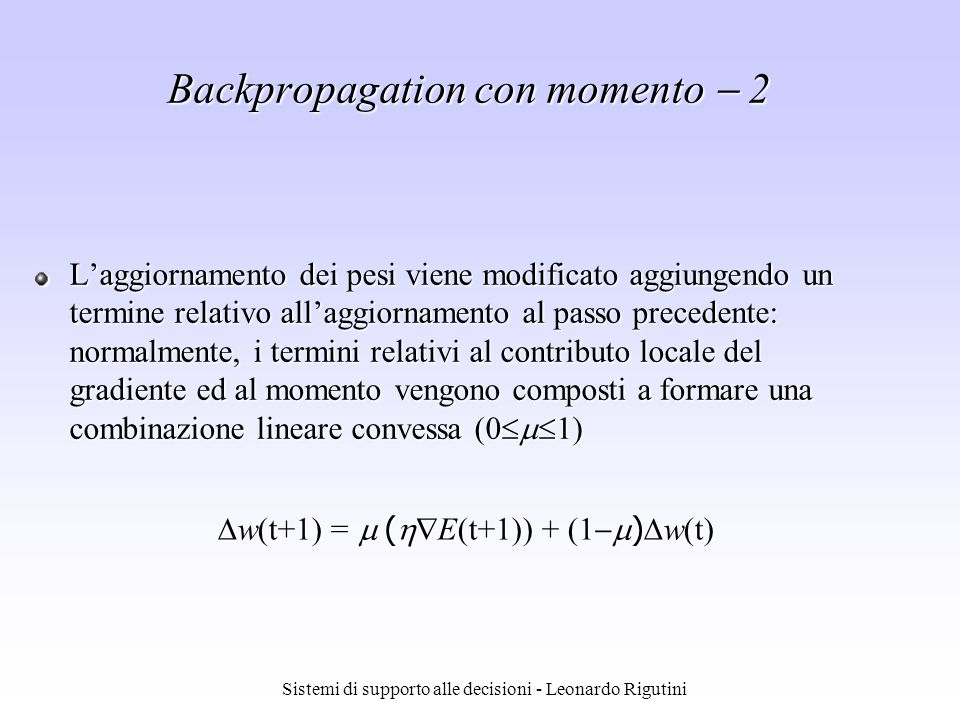 Backpropagation con momento  2