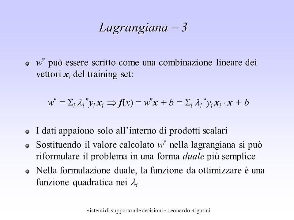 Lagrangiana  3 w* può essere scritto come una combinazione lineare dei vettori xi del training set:
