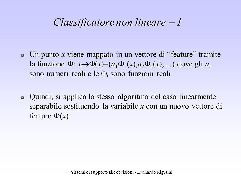 Classificatore non lineare  1