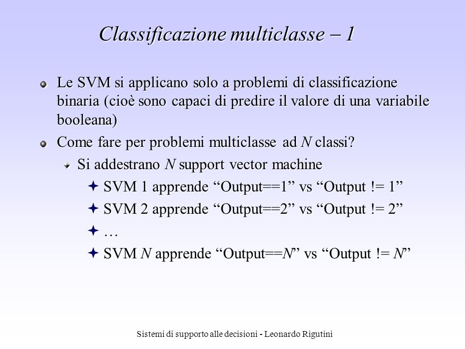 Classificazione multiclasse  1