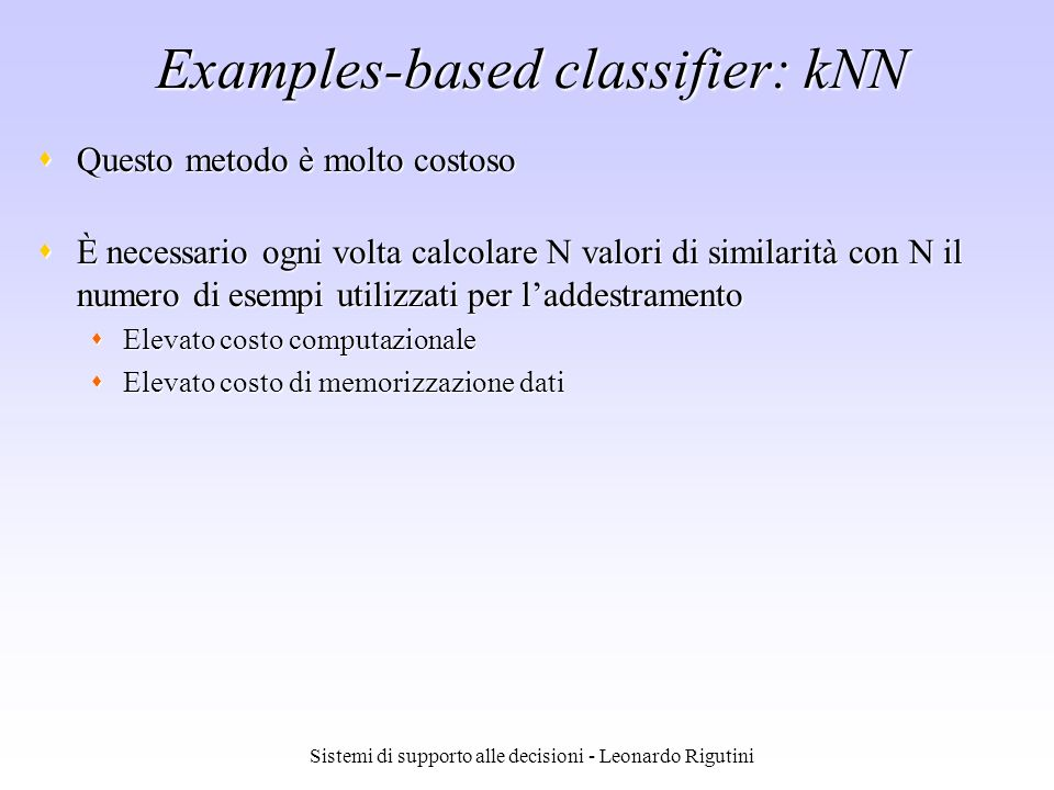 Examples-based classifier: kNN