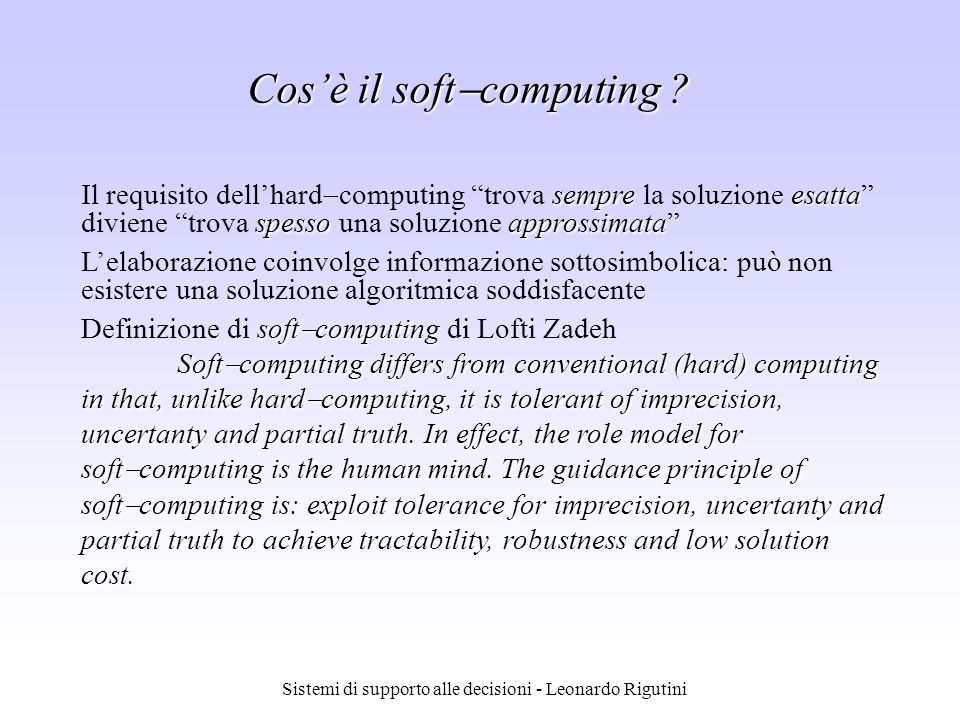 Cos'è il softcomputing