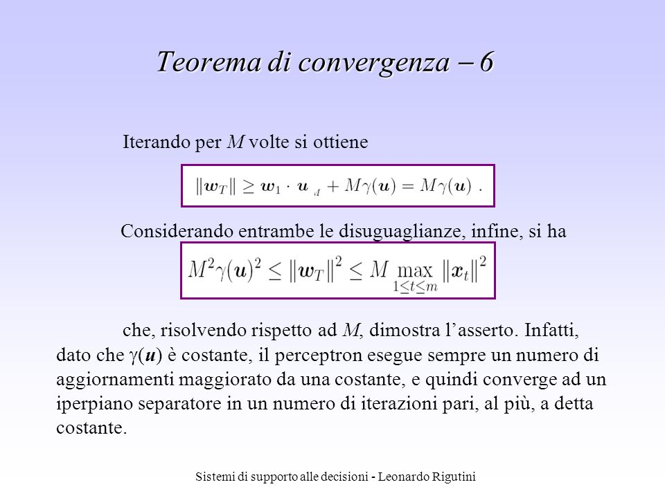 Teorema di convergenza  6