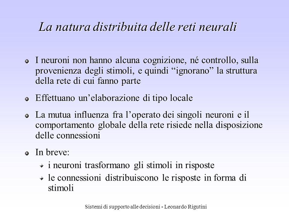 La natura distribuita delle reti neurali