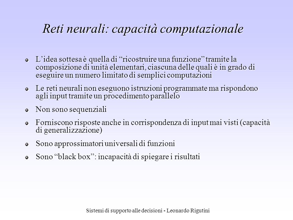 Reti neurali: capacità computazionale