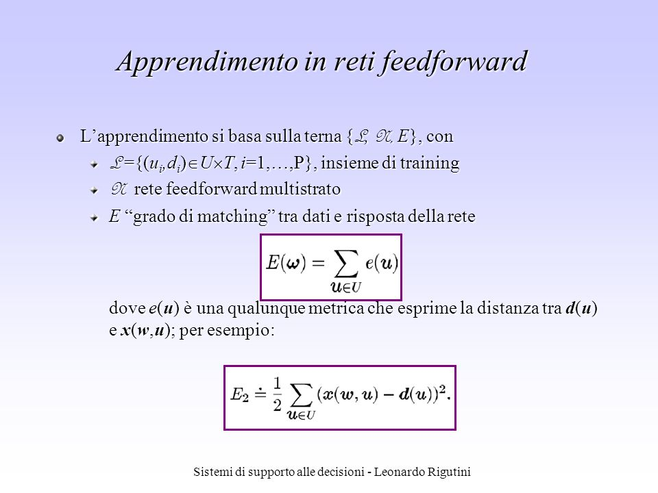 Apprendimento in reti feedforward