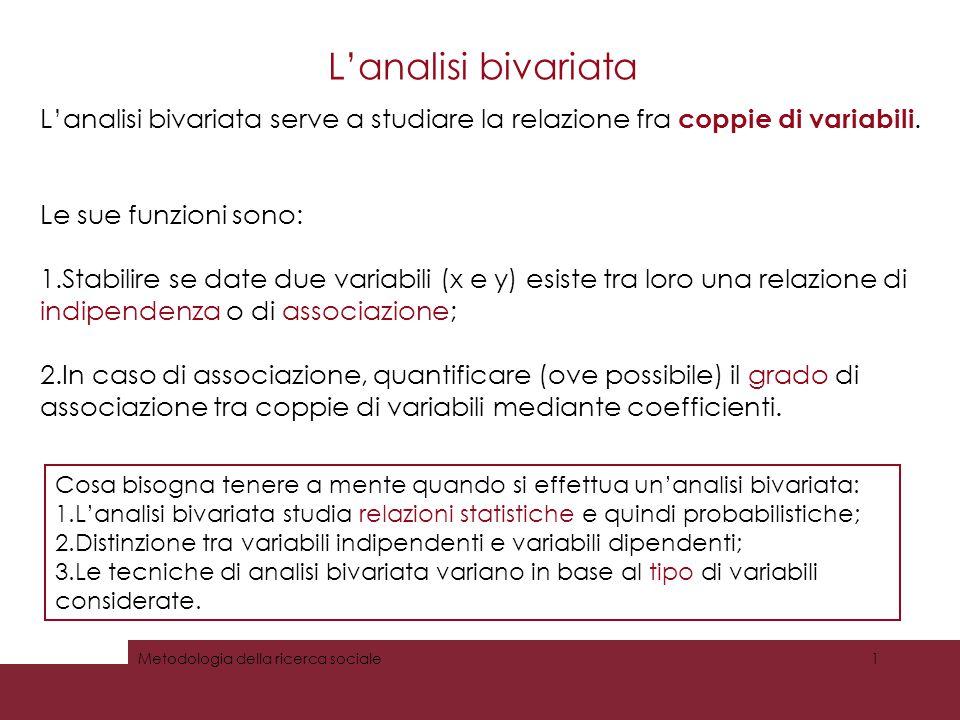 L'analisi bivariata L'analisi bivariata serve a studiare la relazione fra coppie di variabili. Le sue funzioni sono: