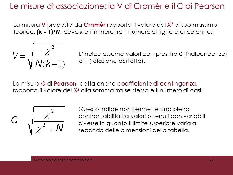 Le misure di associazione: la V di Cramèr e il C di Pearson
