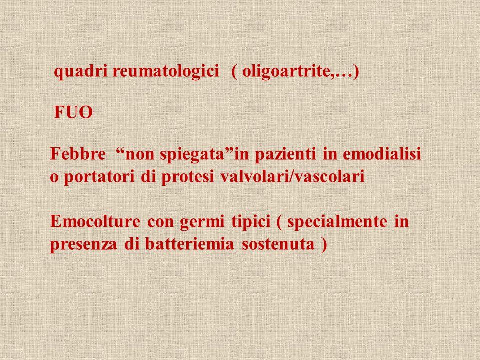 quadri reumatologici ( oligoartrite,…)