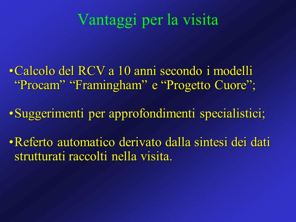 Vantaggi per la visitaCalcolo del RCV a 10 anni secondo i modelli Procam Framingham e Progetto Cuore ;