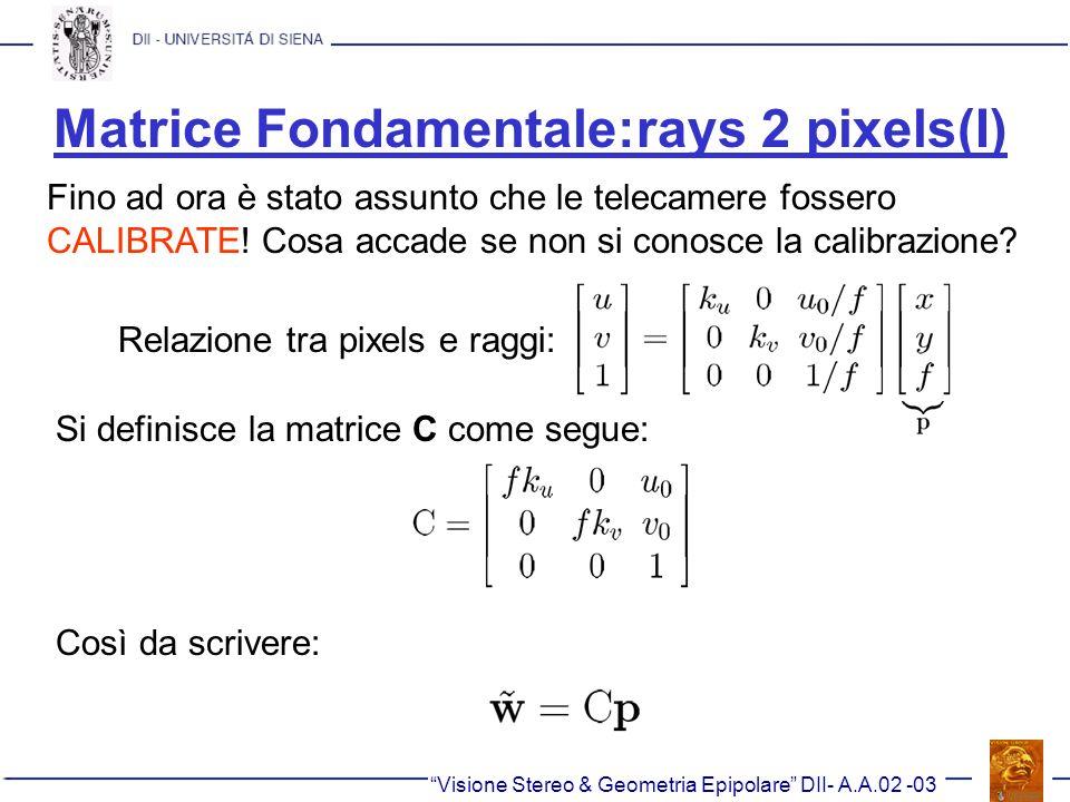 Matrice Fondamentale:rays 2 pixels(I)
