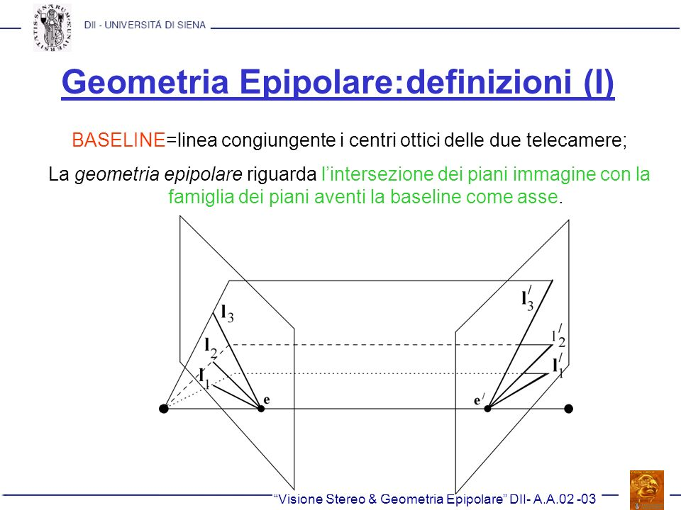 Geometria Epipolare:definizioni (I)
