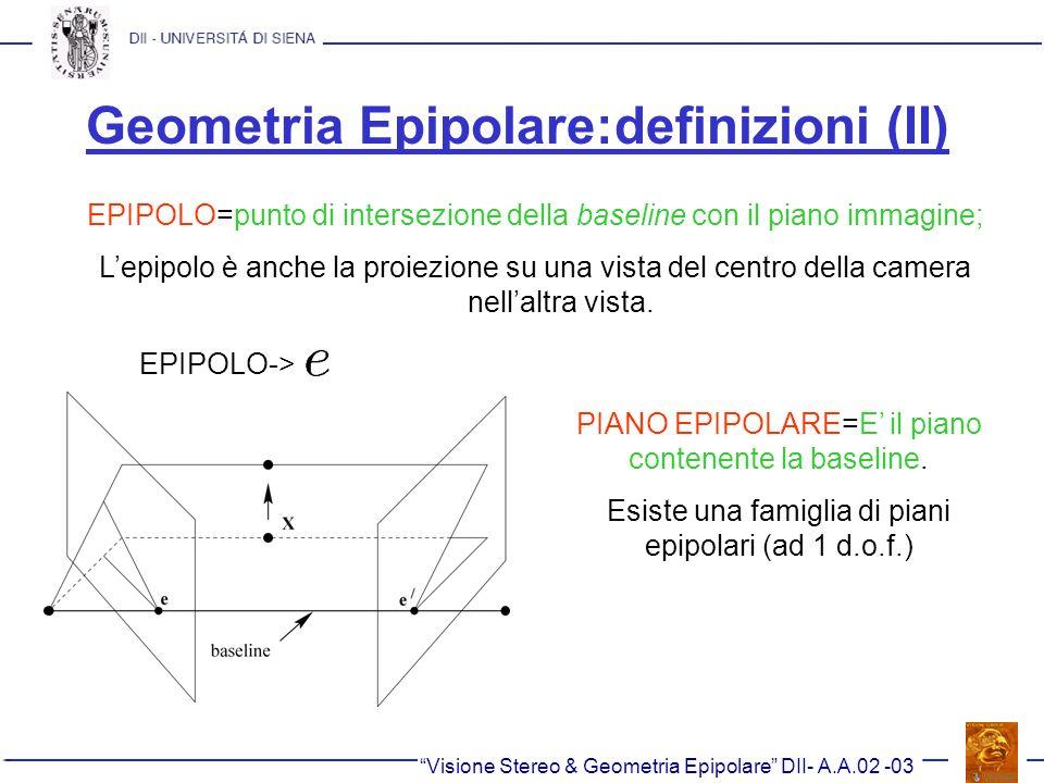 Geometria Epipolare:definizioni (II)