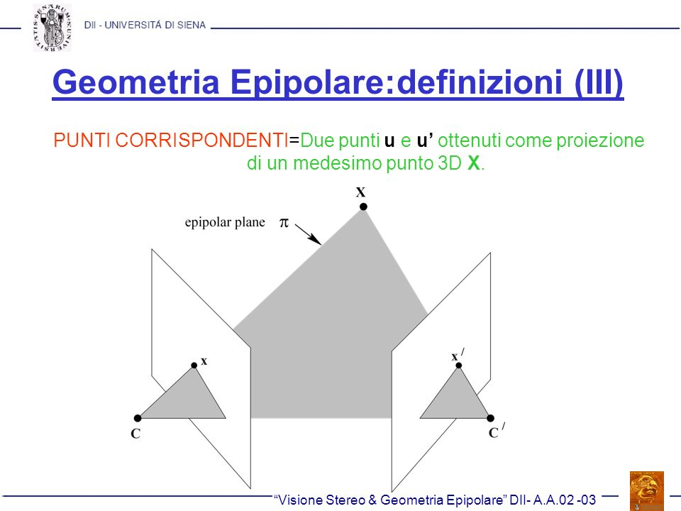 Geometria Epipolare:definizioni (III)