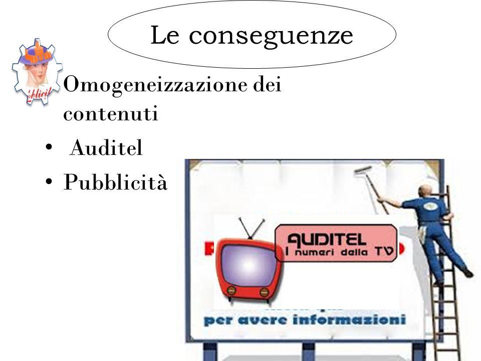 Le conseguenze Omogeneizzazione dei contenuti Auditel Pubblicità