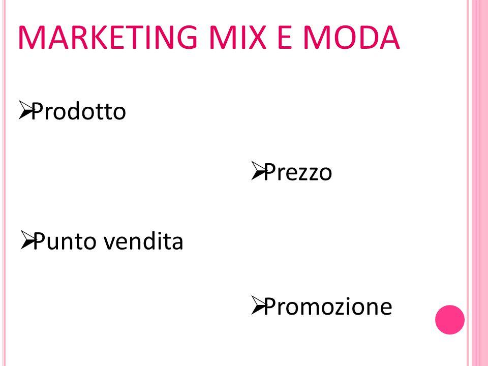 MARKETING MIX E MODA Prodotto Prezzo Punto vendita Promozione