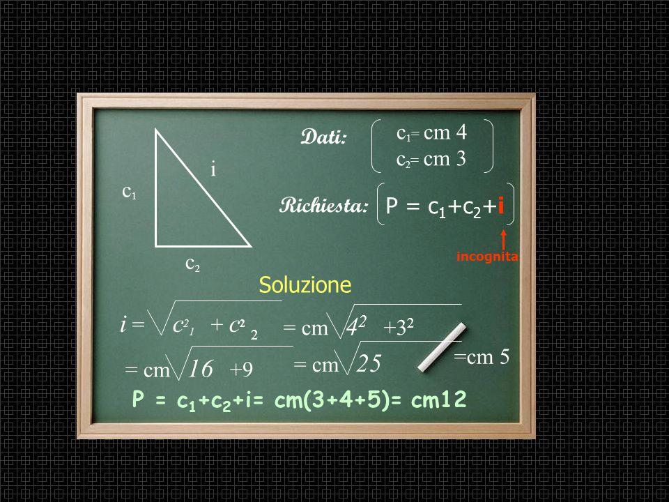 i = c21 + c2 c1= cm 4 Dati: c2= cm 3 i c1 Richiesta: P = c1+c2+i c2