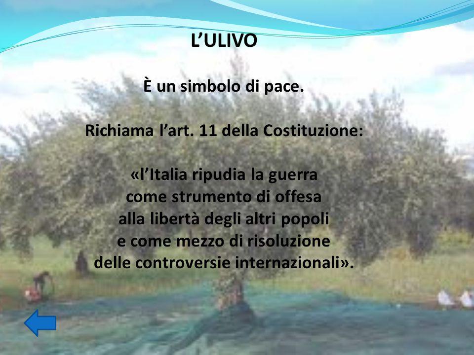 L'ULIVO È un simbolo di pace. Richiama l'art. 11 della Costituzione: