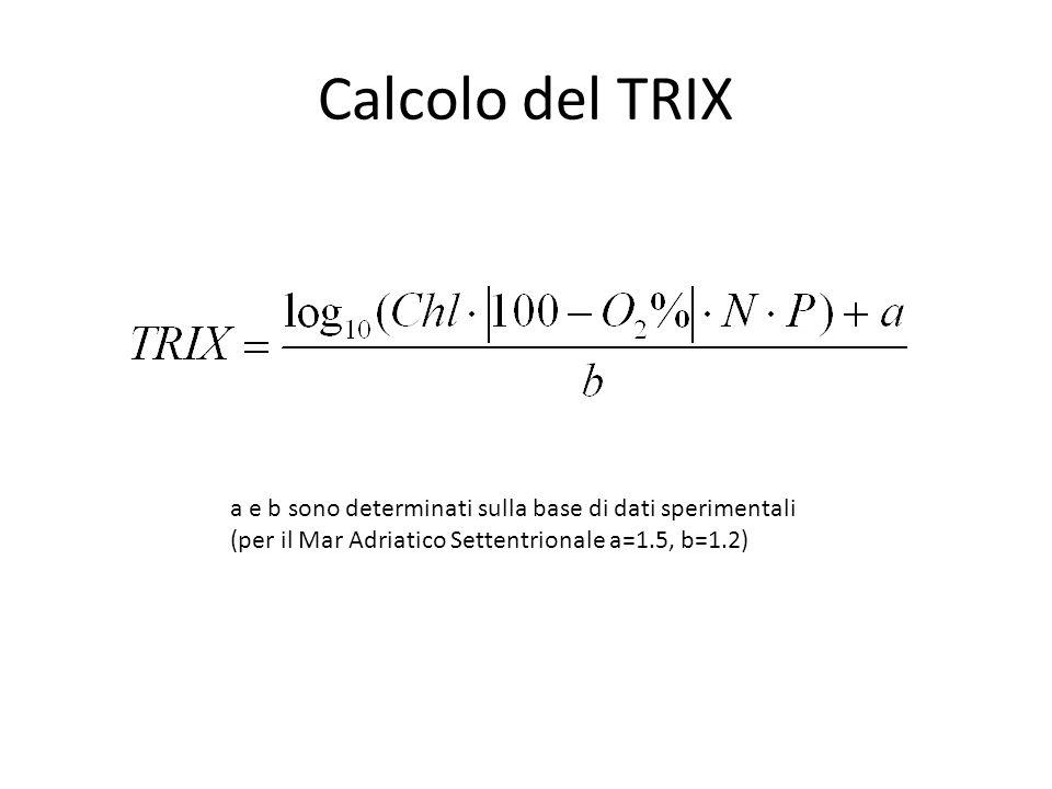 Calcolo del TRIX a e b sono determinati sulla base di dati sperimentali.
