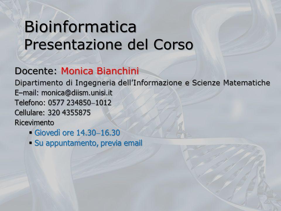 Bioinformatica Presentazione del Corso