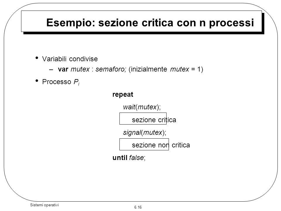 Esempio: sezione critica con n processi